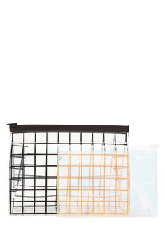A set featuring one medium transparent makeup bag with an allover contrast grid design and a small iridescent makeup pouch, both with slide-zip closures.