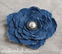 Denim Flower Tutorial - creations by Kara - #denim #flower #tutorial #DIY #crafts - t