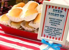 """Love it....hot dogs, corn on cob, pretzels, sugar cookie """"lollipops"""""""
