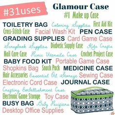 Case - Island Nights So many uses! Thirty-One's glamour case So many uses! Thirty-One's glamour case Thirty One Uses, Thirty One Fall, Thirty One Party, Thirty One Gifts, Shopkins Bag, Thirty One Organization, Travel Organization, Room Organization, Crochet Case