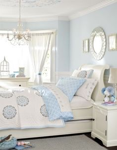 pale blue bedroom gray pottery barn rooms video description find inspiration for teen rooms and give the room a bedrooms ceilings decoration and room light blue bedroom pictures Blue Teen Bedrooms, Blue Girls Rooms, Cool Kids Bedrooms, Blue Bedroom Ideas For Girls, Kid Bedrooms, Girl Rooms, Bedroom Colors, Bedroom Decor, Bedroom Wall