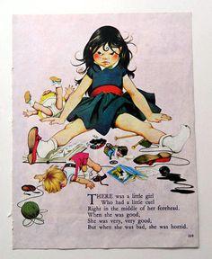 Horrid Girl Nursery Rhyme - Mother Goose, There was a little girl, vintage illustration bedroom print wall art to frame Nursery Rhymes Lyrics, Old Nursery Rhymes, Nursery Rhymes Preschool, Nursery Rymes, Nursery Artwork, Kids Poems, Rhymes Songs, Mother Goose, Girl Nursery