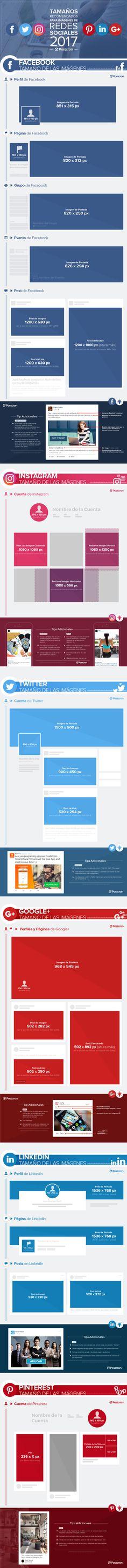 Infográfico-Infografía-Infografía: Tamaños Recomendados para Imágenes de Redes Sociales 2017