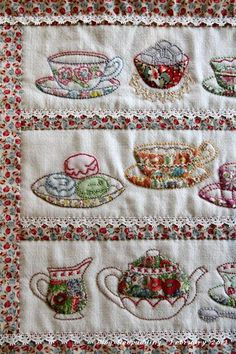 Tea cups and tea pot in combination of appliqué and embroidery.