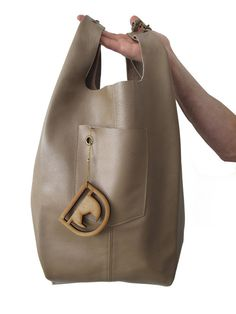 Leather Tote Bag/ Designed hand bag Nude color JUD Hand by JUDtlv at etsy