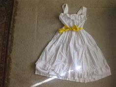 vintage 60's cotton eyelet tea length wedding dress $24