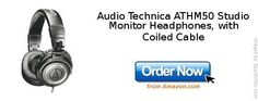 Audio Technica ATHM50 Studio Monitor Headphones, with Coiled Cable
