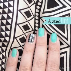 Mint & Aztec Nails
