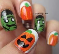 Combo of Frankenstein nails with pumpkin nails for a Halloween fest!
