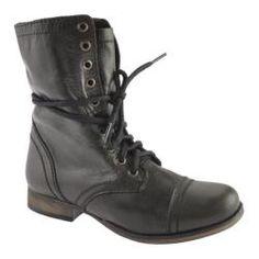 442bd89a1f Women s Steve Madden Troopa Black Leather - Overstock™ Shopping - Great  Deals on Steve Madden