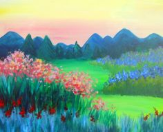 Hidden Escape - Pinot's Palette The Woodlands Easy Landscape Paintings, Canvas Painting Landscape, Landscape Art, Wood Paintings, Landscapes, Canvas And Cocktails, Wine And Canvas, Paint And Sip, Watercolor Flowers