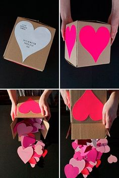 Valentine's: Send a Crafty Heart Attack – write something you love about your valentine on each heart!--- I'm not one for Valentine's Day but I love this idea Valentines Bricolage, Valentines Diy, Valentine Day Gifts, Funny Valentine, Valentines Day Care Package, Cute Gifts, Diy Gifts, Homemade Gifts, Holiday Crafts