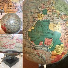 Globe terrestre Taride verre marbre vintage 1947