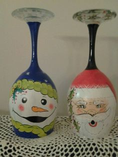 Santa and snowman wineglasses