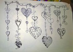 Hearts on a String (painting canvas hippie) Heart Doodle, Zen Doodle, Doodle Art, Tangle Doodle, Valentine Doodle, Valentines Day Drawing, Doodle Lettering, Creative Lettering, Doodle Patterns