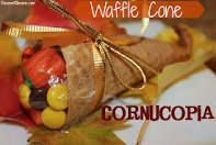 cornucopia with candy and wafles cones - Google Search my grand kids made these
