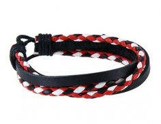 Red and White Wrap Leather Bracelet
