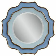 """Wall mirror with a 2-tone blue finish and scalloped gold edge.  Product: Wall mirrorConstruction Material: Mirrored glass and enamelColor: Blue and goldDimensions: 30"""" H x 30"""" W"""