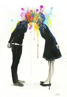 Big bang kiss by the amazing Lora Zombie. I must have pins with her art here or it won't feel right.