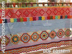 Crochet pattern BOHO CURTAIN/VALANCE by by ATERGcrochet on Etsy