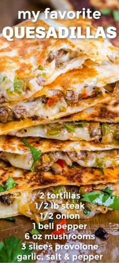 quesadilla recipes Philly Cheesesteak Quesadillas - Done in under 30 minutes and a make-ahead recipe. Flour tortillas filled with steak and cheese cooked until the tortillas as crisp and cheese is melted. The best quesadilla recipe! Best Quesadilla Recipe, Steak Quesadilla, Chicken Fajita Quesadilla Recipe, Mexican Quesadilla, Healthy Quesadilla, Mexican Dishes, Mexican Food Recipes, Beef Recipes, Cooking Recipes