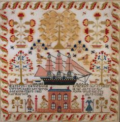 ♒ Enchanting Embroidery ♒  embroidered Welsh sampler by Margaret Davies, 1853