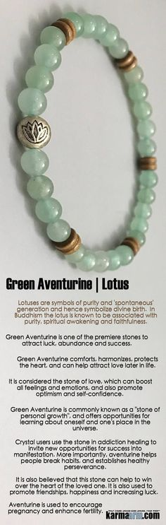 DREAMS: Reiki Healing Meditation Jewelry | Yoga Bracelets ♛ # Green Aventurine comforts, harmonizes, protects the heart, and can help attract love later in life. It is one of the premiere stones to attract luck, abundance and success. #reiki #Bracelets #