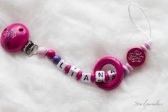 Kleine Prinzessin -Schnullerkette mit Wunschnamen von Strickparadies auf Etsy