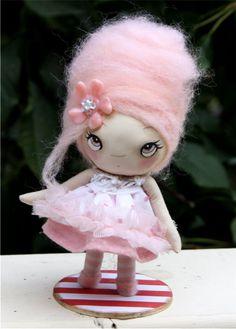 Cotton Candy Paper Mache OOAK Art Doll