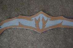 """Tiara """"Celtic"""" Larp Mittelalter Leder blau grau braun Elfe tiara Stirnband"""
