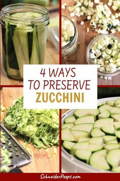 Preserving zucchini and summer squash is a great way to cut your grocery bill. You can ferment, dehydrate, can and even freeze zucchini for the winter. Preserving Zucchini, Canned Zucchini, Canned Squash, Zucchini Squash, Preserving Food, How To Freeze Zucchini, Zucchini Relish, Zucchini Pickles, Freezing Vegetables