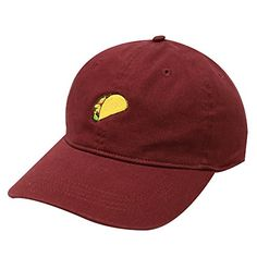 15107d4269b City Hunter C104 Taco Emoji Cotton Baseball Cap Dad Hats 15 Colors (Burgundy