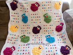 Etsy. Crochet Pattern PDF for Rainbow Owls Baby Blanket.