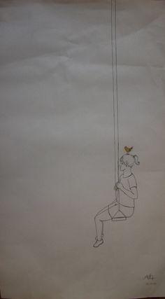 desenho menina no balanço