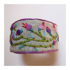 Hand Embroidered MultiColored Cuff with Vine by MadrigalEmbroidery, $47.00