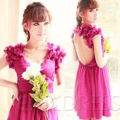 Luxury V-Neck Short Sleeveless Backless Homecoming Dress