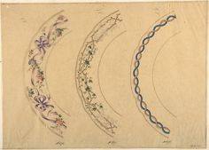 Anonymous, French, 19th century | Three Designs for Plate Borders | The Metropolitan Museum of Art