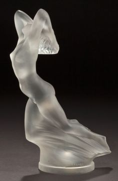 """R. LALIQUE CLEAR AND FROSTED GLASS VITESSE MASCOT  Circa 1928  Molded: R. LALIQUE, FRANCE. This is featured in the new book """"UNIQUE LALIQUE MASCOTS by G.G. Weiner"""