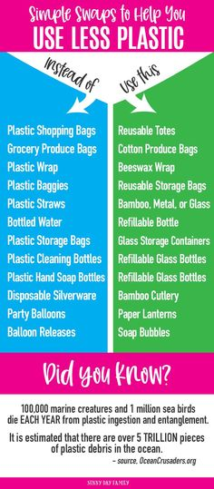 Use less plastic with these simple alternatives to everyday household products! Replace your plastic straws, bags, and more with these eco-friendly ideas. Diy Cleaning Products, Cleaning Tips, Household Products, Household Tips, Glass Storage Containers, Plastic Storage, Plastic Items, Use Of Plastic, Glass Spray Bottle