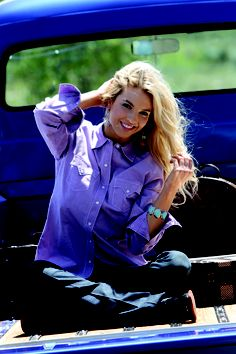 Lilac Snap Shirt by CRUEL GIRL - Solid plain weave, contrast heavy topstitching, marble wash, white pearl snaps  #cowgirl #westernfashion #fashion #cruelgirl size med