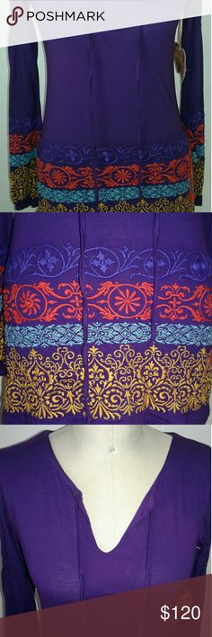 "JWLA by Johnny Was Long Sleeve Boho Tunic Size (S) NWT Johnny Was Boho Border Puff Sleeve Plum Purple Tunic. Colorful Embroidery all Throughout This Top. Drawstrings at The V- Neck. Cotton and Comfortable. Bust 34"". Comes w/Tag. JWLA by Johnny Was Tops Tunics"
