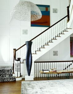 Modern - Wood Staircase - Zebra Rug - New York, NY - Interior Design David Scott