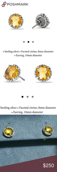 David Yurman Citrine Stud Earrings These are New, Gorgeous earrings! I just don't really like them for myself. The pictures do not do them justice!  Great Birthday or anniversary gift! David Yurman Jewelry Earrings
