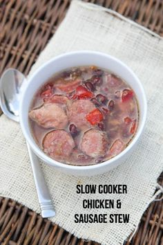 Slow Cooker Chicken & Sausage Stew ~ part of our 20 GF Slow Cooker Freezer Pack Meal Plan for Costco | 5DollarDinners.com