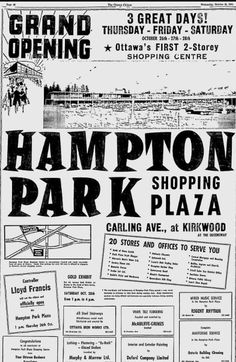 Hampton Park at Carling and Kirkwood Ottawa, Old Photos, The Hamptons, Ontario, Orlando, The Past, Harry Potter, Canada, Retail