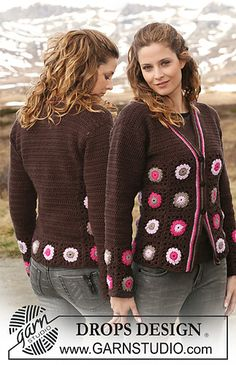 "Free Crochet DROPS jacket in ""Merino Extra Fine"" with crochet squares. Size S – XXXL"
