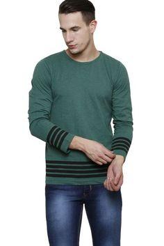 #RIGO #Green #Melange with #Black #Stripe Long Sleeve Round Neck #Tee
