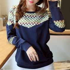 Stylish Round Neck Lace Splicing Zig Zag Long Sleeve Sweatshirt For Women Sweatshirts & Hoodies | RoseGal.com Mobile