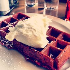 Red Velvet waffles at The Waffle in LA/Hollywood! most delicious waffle I've ever had in my life.