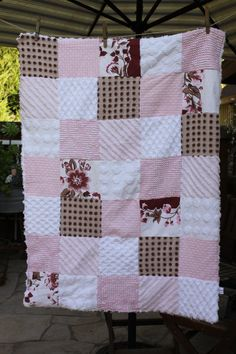 Shabby Vintage Pink and Brown Chenille Patchwork Blanket. $75.00, via Etsy.